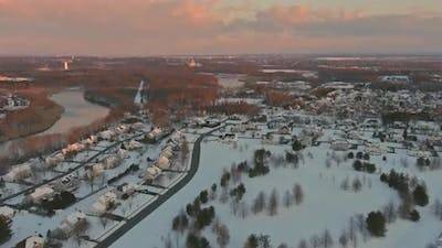 Housing Development Aerial View Suburban in a Snow Covered Town Beautiful House Countryside