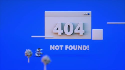 3D render 404 not found loop animation on blue background