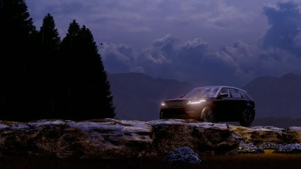 Thumbnail for Black Luxury Land Vehicle Moving in the Rainy Mountain Area in the Evening