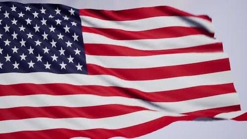USA flag waving in the wind seamless looping 4K Ultra HD