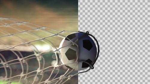 Soccer Ball Scoring Goal Night