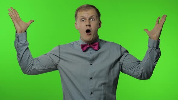 Thumbnail for Man Is Mind Blowing By Your Statement on Chroma Key Background. Showing Explosion of Ideas