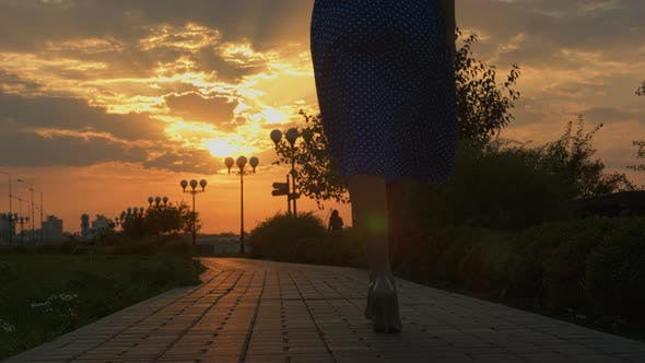 Thumbnail for Girl Walking Away Through Park at the Sunset. Slide