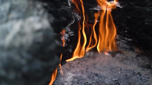 Bright Flame on Famous Turkey Mountain Chimaera Slope