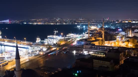 Thumbnail for Aerial Hyperlapse Istanbul Galata And Bosphorus Night Vertigo