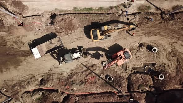 Thumbnail for Aerial Construction Site with Machinery, Bulldozer, Excavation.