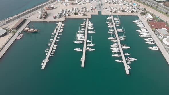 Boats and yachts in marina, aerial view