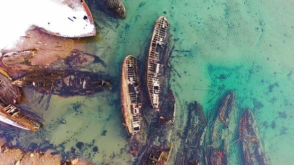 Thumbnail for Old sunken ships near coast in winter