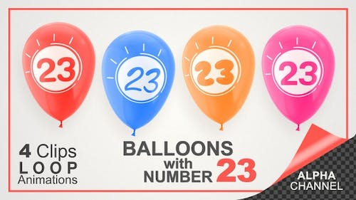 Balloons With Number 23 / Happy Twenty-Three Years Old
