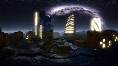 City Skyline at Night Under a Starry Sky