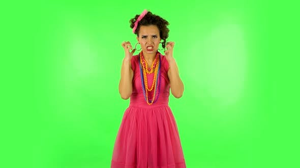Thumbnail for Annoyed Woman Gesturing in Stress Expressing Irritation and Anger. Green Screen