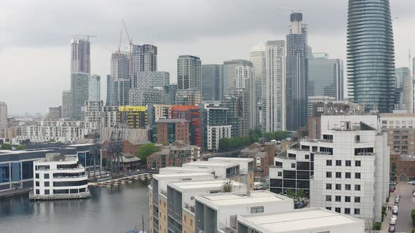Thumbnail for London Financial and Banking District. Canary Wharf Skyscrapers in Docklands