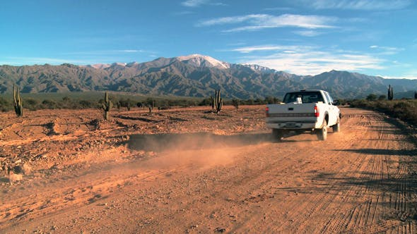 Thumbnail for Pickup Truck in the Desert near the Andes Mountains.