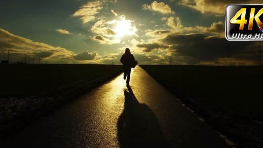 Thumbnail for People Silhouette on Road in Field Nature in Sunset Landscape 4