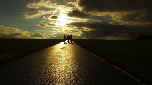 Thumbnail for People Silhouette on Road in Field Nature in Sunset Landscape 5