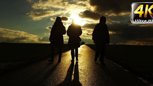 Thumbnail for People Silhouette on Road in Field Nature in Sunset Landscape 6