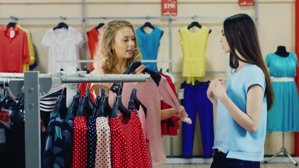 Thumbnail for Girlfriends Choose Clothes In Shop