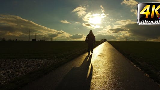 Thumbnail for People Silhouette on Road in Field Nature in Sunset Landscape 2