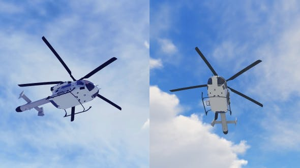 2 Helicopter Scene With Sky