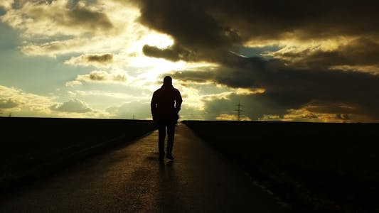 Thumbnail for People Silhouette on Road in Field Nature in Sunset Landscape 8