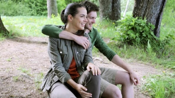 Thumbnail for Happy Couple In Woods Hugging And Laughing 10