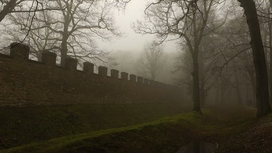 Thumbnail for Old Historical Ancient Castle Walls and Forest in Misty Foggy Day 4