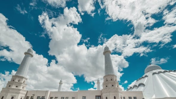 Thumbnail for Beautiful Clouds Over The White Mosque. Kazakhstan