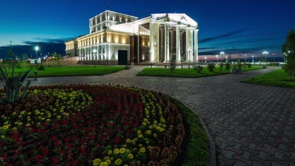 Thumbnail for Day Turns Into Night, Turn On Illumination Dramatic Theater. Kazakhstan
