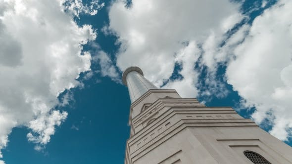 Thumbnail for Blue Sky And Clouds Above The Peak Of The Tower Of White Mosque. Kazakhstan