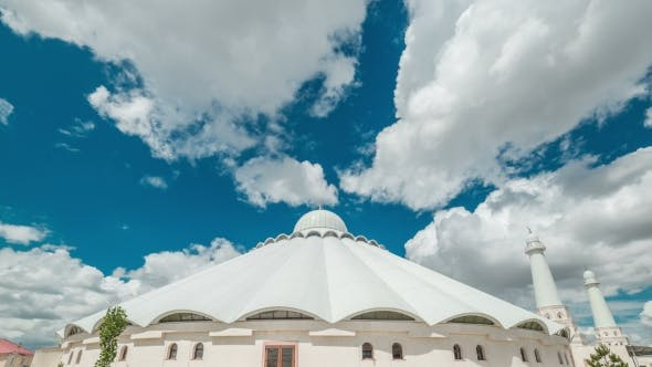 Thumbnail for White Clouds On a White Arab Mosque. Kazakhstan -