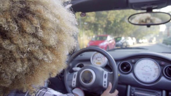 Thumbnail for Young Woman Driving A Cabriolet.