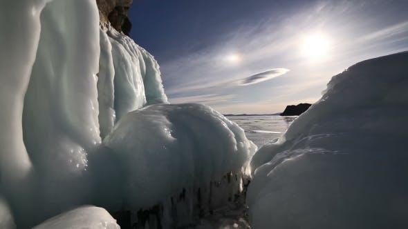 Thumbnail for Sunset On Freeze Ice Of The Baikal Lake.