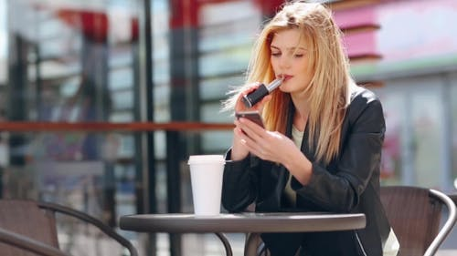 Blonde In Cafe