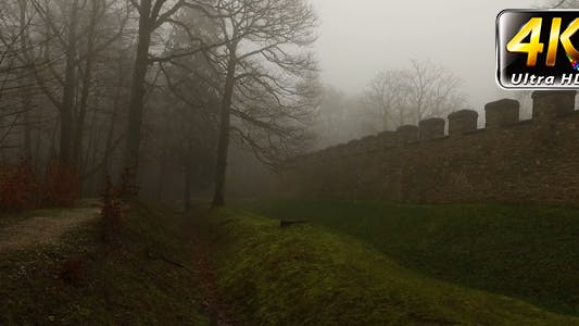 Thumbnail for Old Historical Ancient Castle Walls and Forest in Misty Foggy Day 5