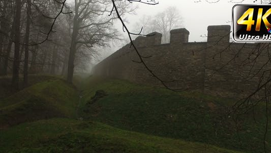 Thumbnail for Old Historical Ancient Castle Walls and Forest in Misty Foggy Day 7