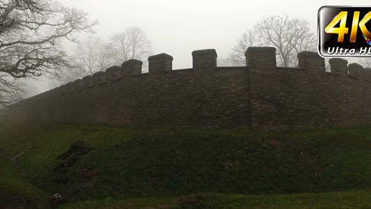 Thumbnail for Old Historical Ancient Castle Walls and Forest in Misty Foggy Day 8