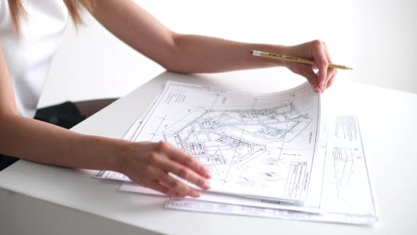 Thumbnail for Business Woman Working With Drawings And Papers