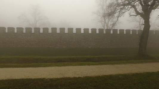 Thumbnail for Old Historical Ancient Castle Walls and Forest in Misty Foggy Day 12