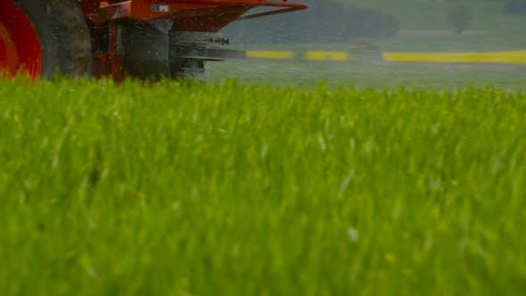 Tractors Sprayed With Fertilizer