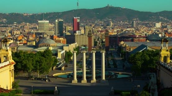 Thumbnail for Barcelona Sunrise.  Of Square In Center Of Barcelona. Travel Landmarks