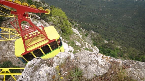 Thumbnail for The Cable Car In Crimea Ai-Petri On a Background Of Mountains Covered With Clouds