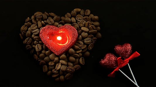 Thumbnail for Heart Shaped Candle in Coffee Beans and Glittering Red Hearts