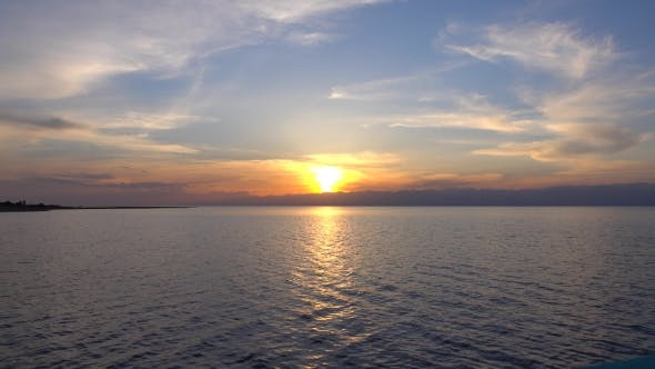 Thumbnail for Beautiful Sunset Over Issyk Kul Lake in Kyrgyzstan and Distant Ridge Line