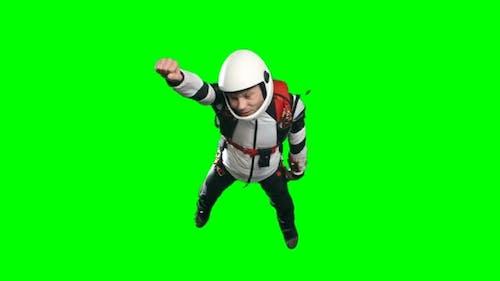 Superhero Skydiver in Free Fall