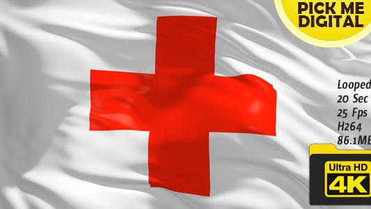 Red Cross Flag 4K