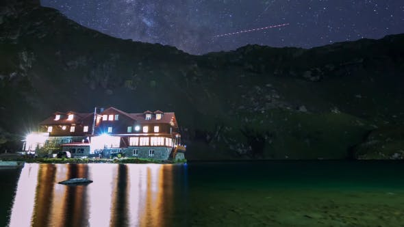 Thumbnail for Isolated Cabin On A Mountain Lake With Milky Way Galaxy at Night 3