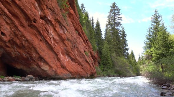 Thumbnail for Striped Red Rock And Mountain River
