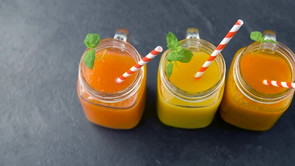 Thumbnail for Juices in Mason Jar Glasses with Paper Straws 24