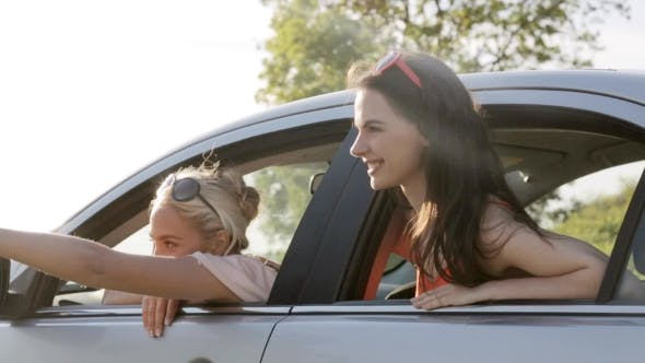 Thumbnail for Happy Teenage Girls Or Women In Car At Seaside 11