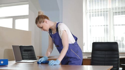 Cleaning Lady Tries To Scrub The Dirt.